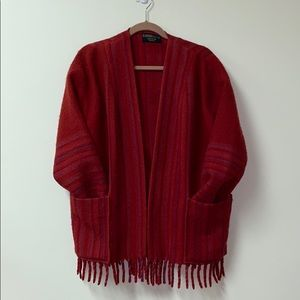 Vintage open fringed woven stripped sweater